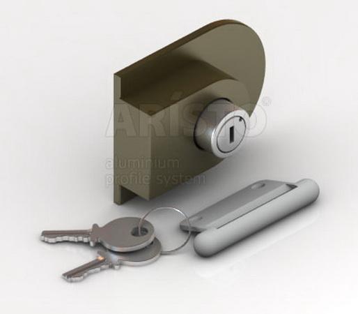 мебельная фурнитура: Замок для дверей купе с открытом профилем (С) .